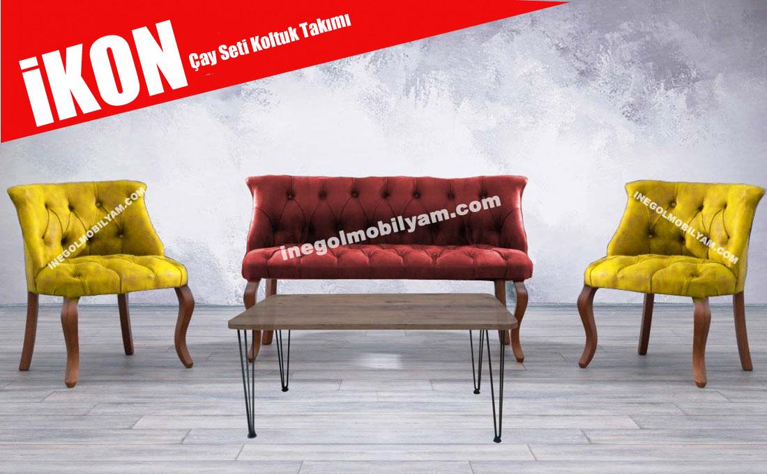 İkon Çay Seti Sarı - Kırmızı  1199 TL